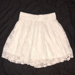 Hollister White Lace Skater Skirt XS